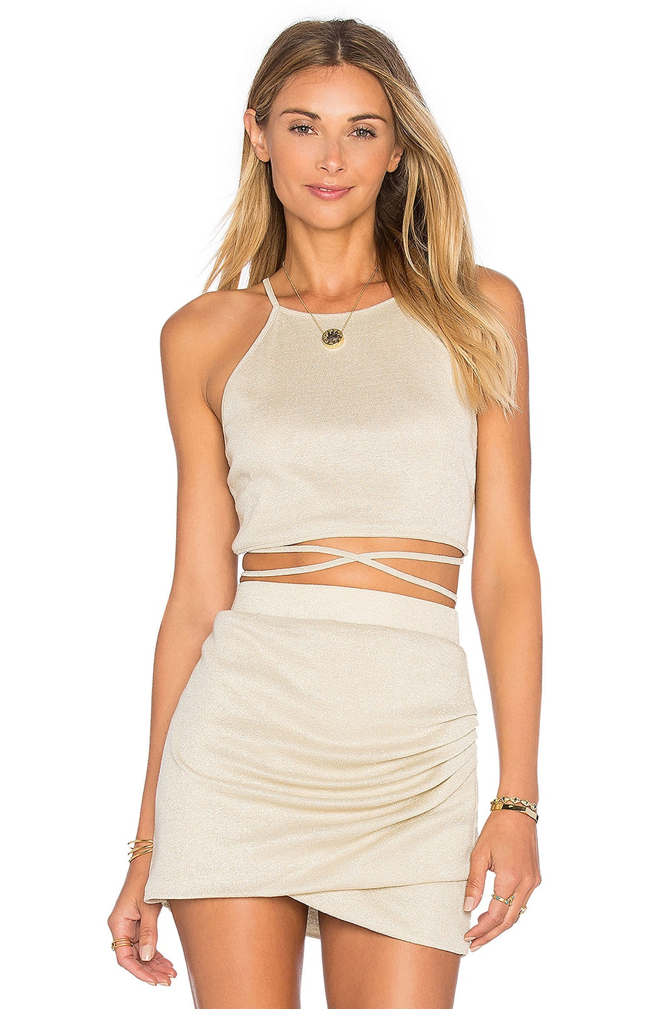 Lovers + Friends x REVOLVE x Alexis Ren Star Goddess Crop Top in Gold Jersey