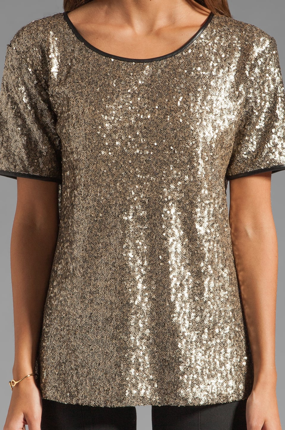 Lovers + Friends Chic Top in Bronze Sequin