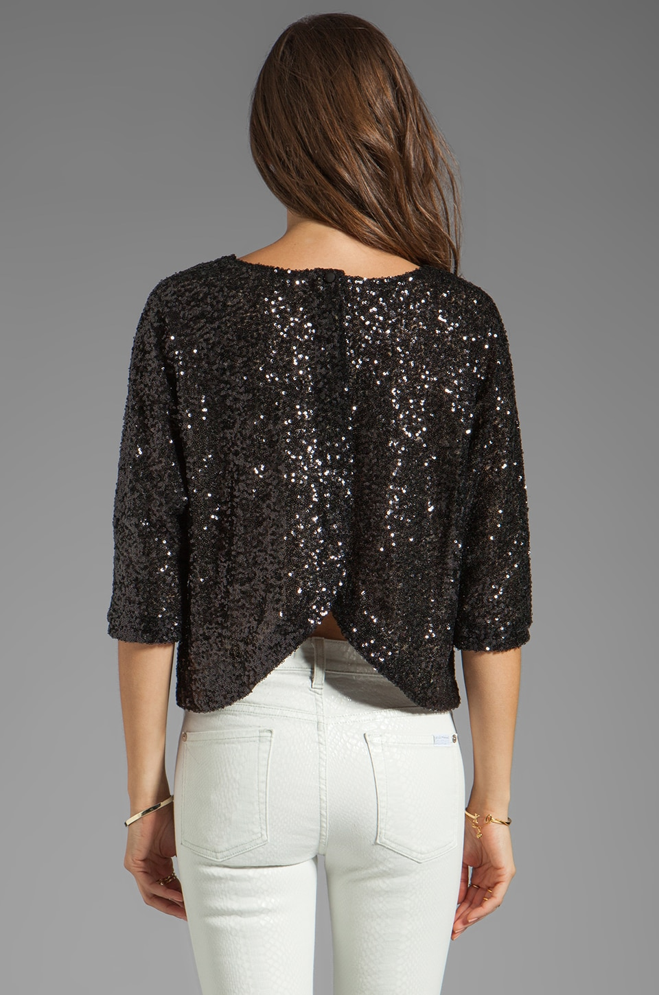 Lovers + Friends Intuition Blouse in Black Sequin
