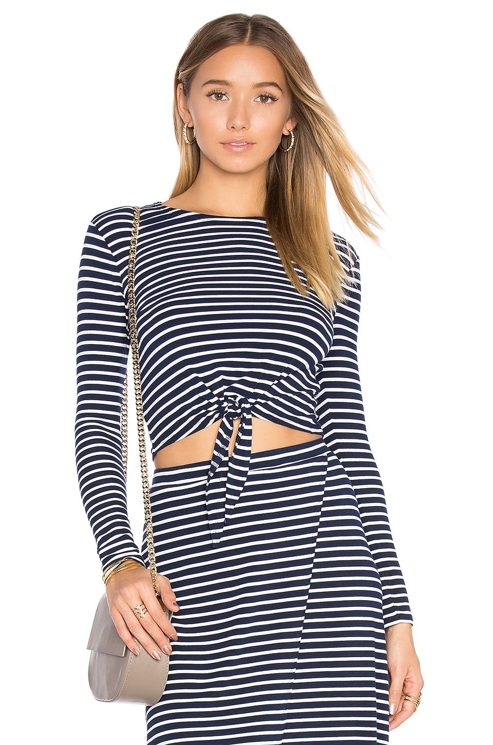 Lovers + Friends Sail Away Top in Navy Stripe