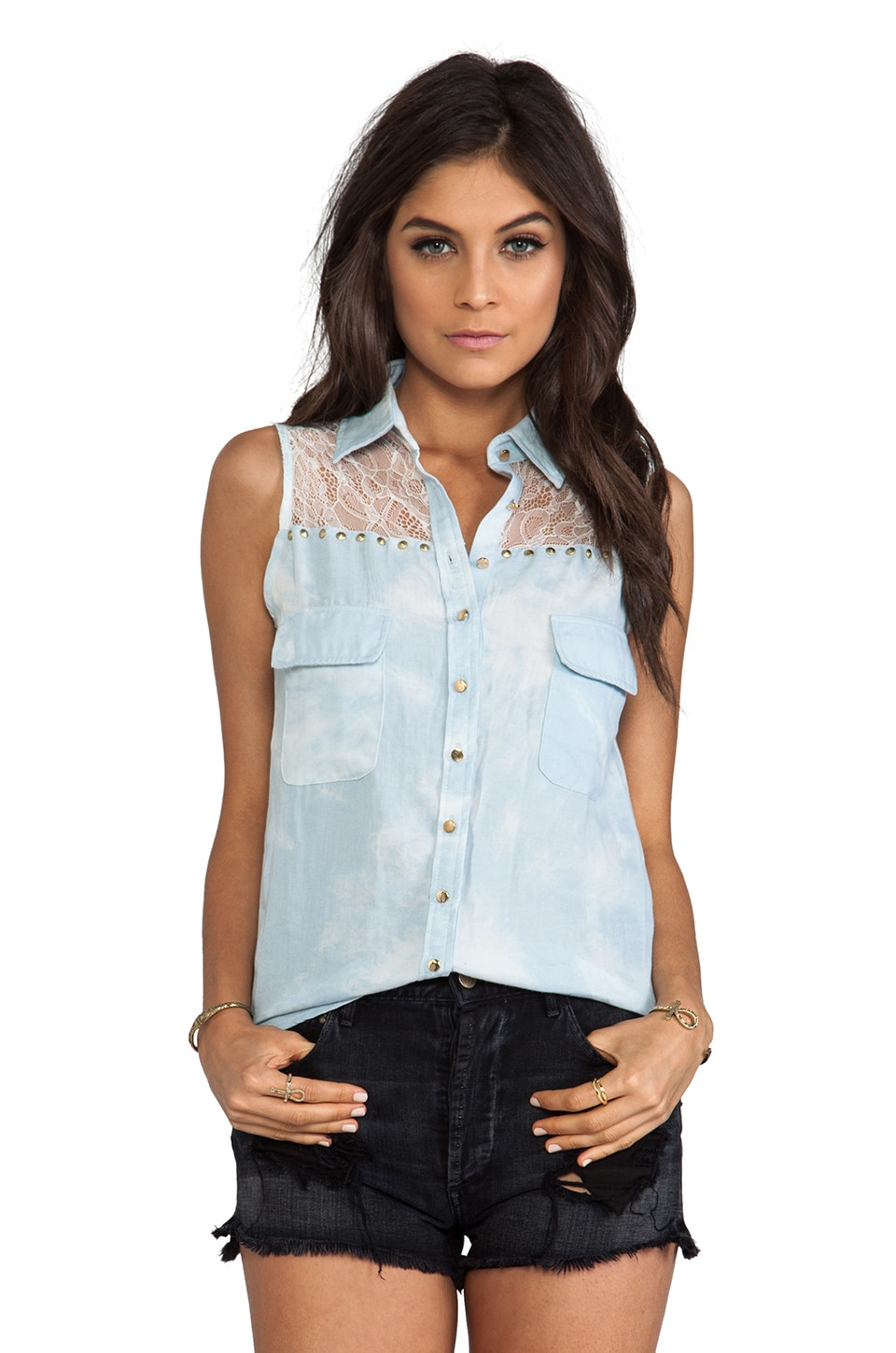 Lovers + Friends Love Comes Softly Top in Chambray