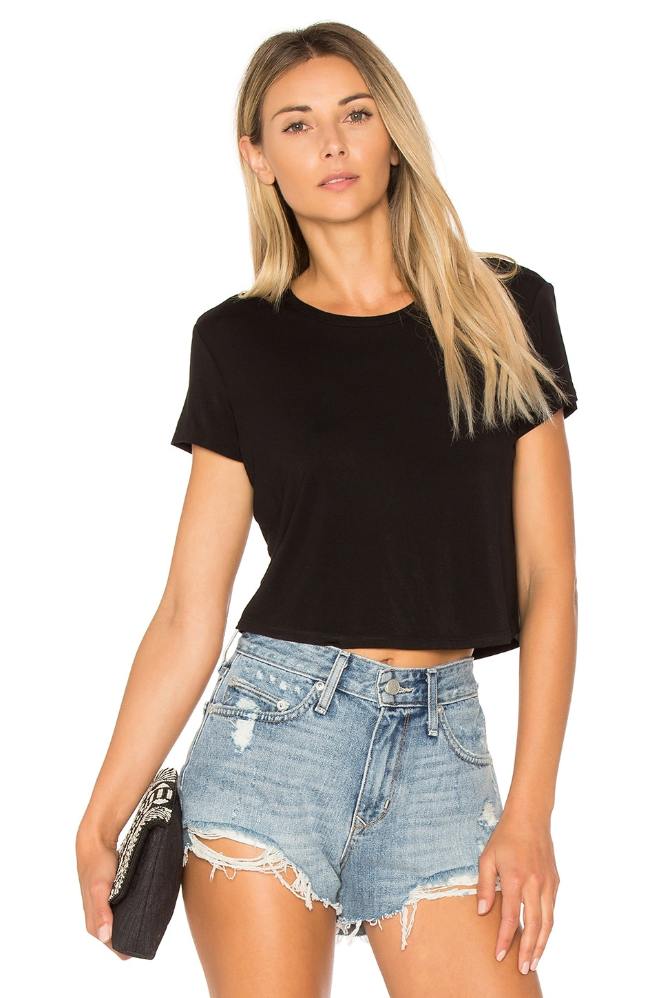 Lovers + Friends Cropped Tee in Black