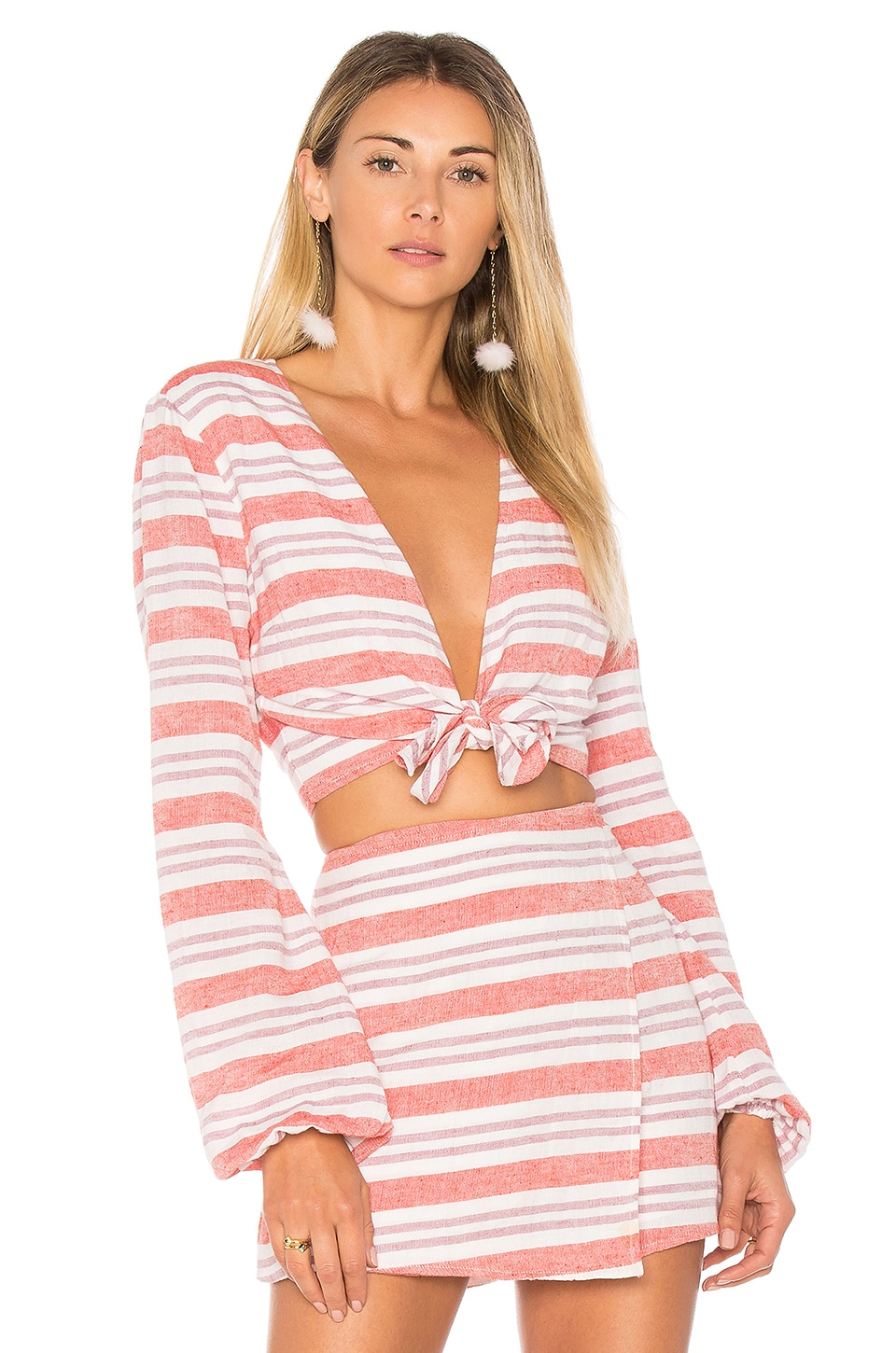 Lovers + Friends I Think I Love You Top in Berry Stripe