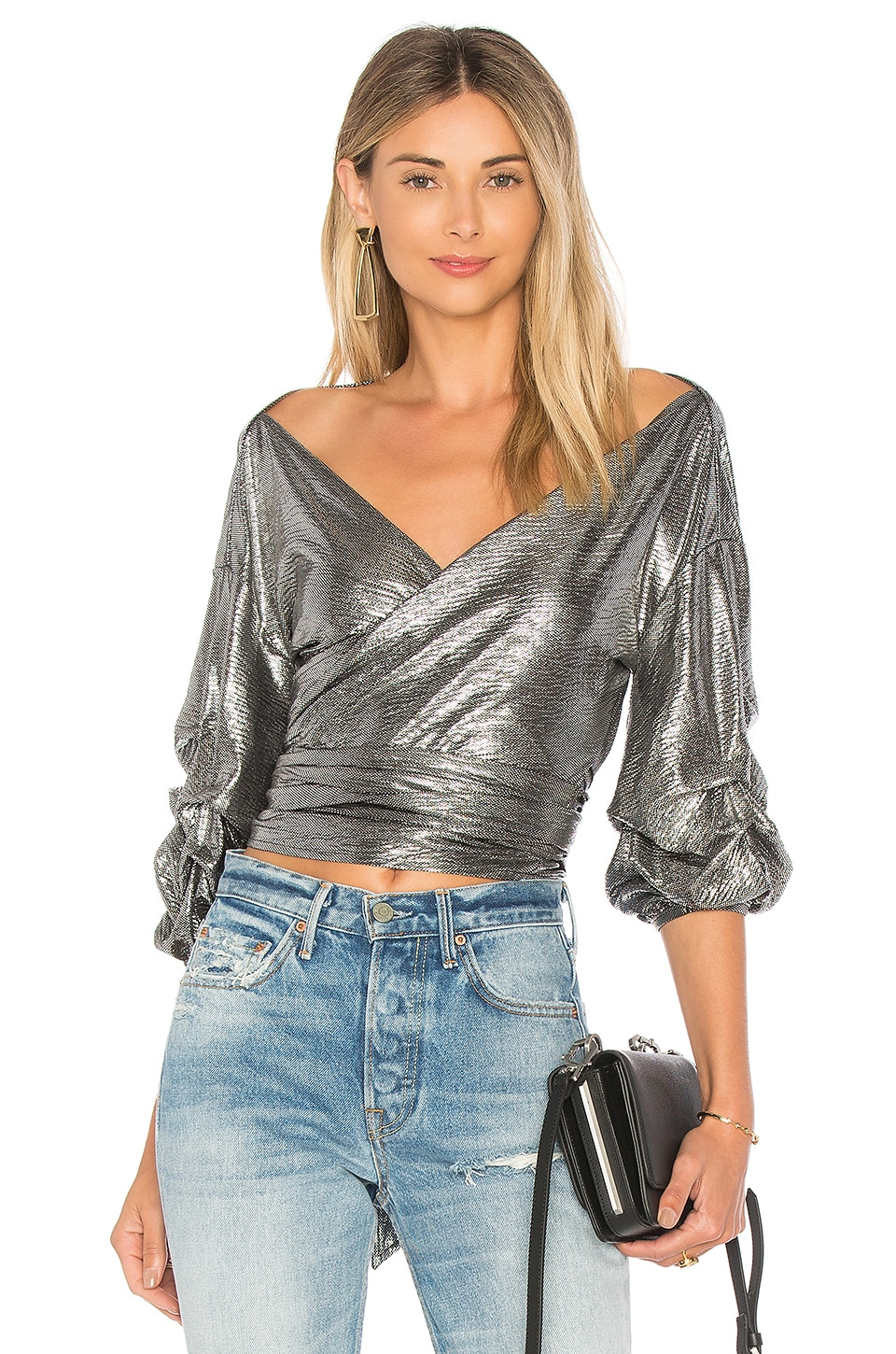 Lovers + Friends Bow Blouse in Silver