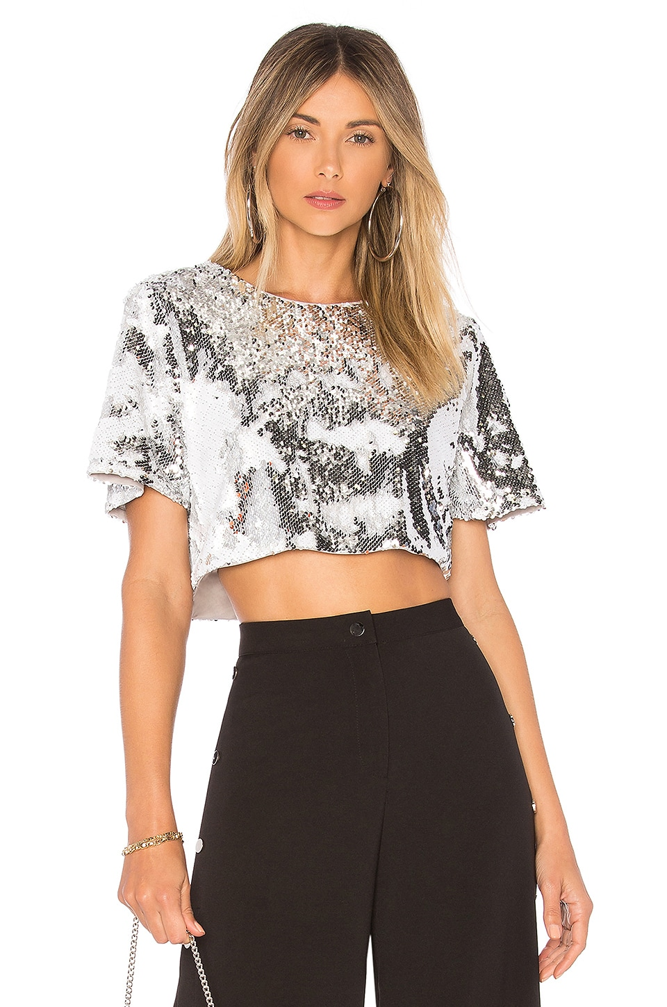 Lovers + Friends Raine Crop Top in Silver