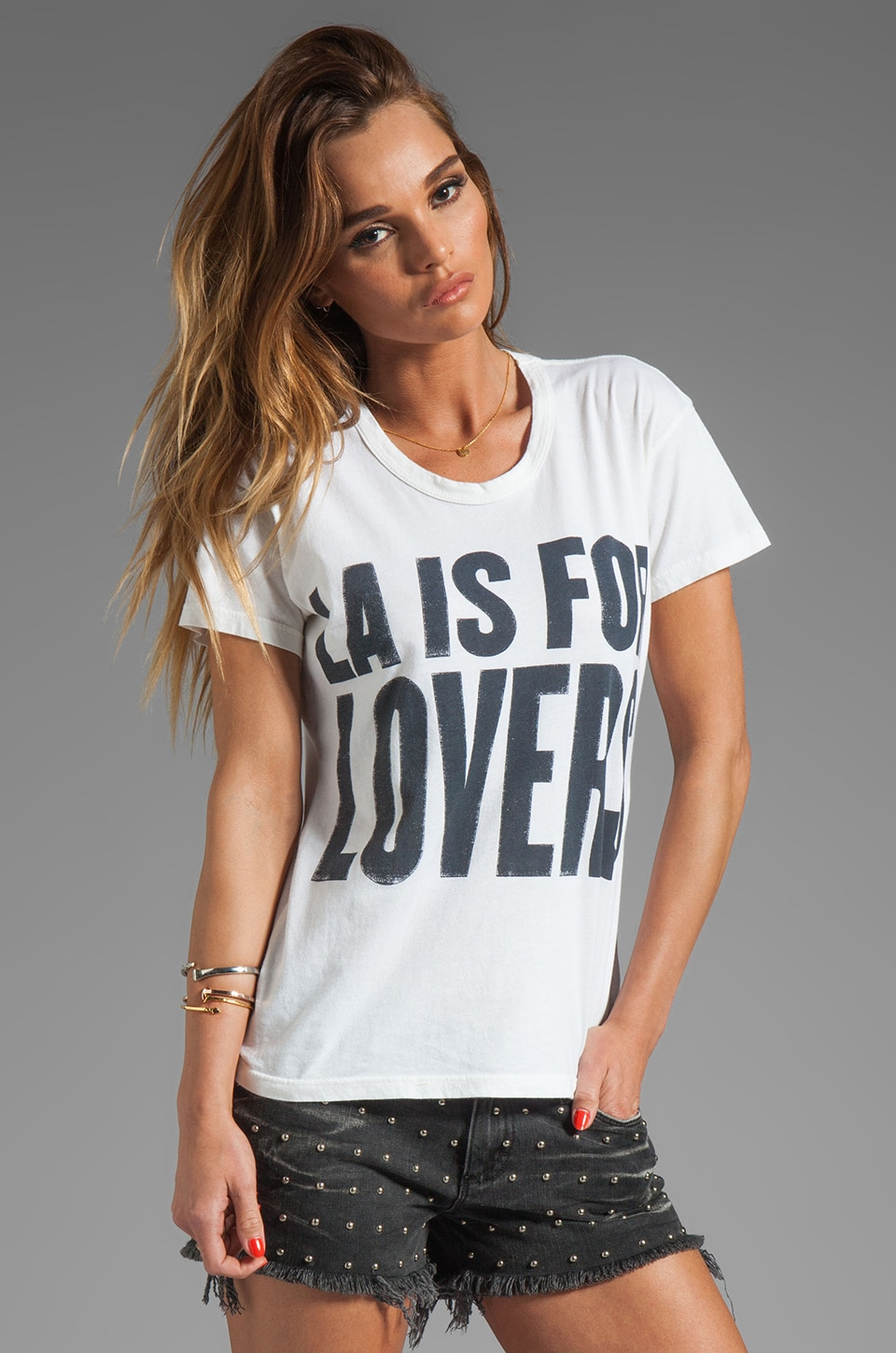 Lovers + Friends LA Is For Lovers Short Sleeve Graphic Tee in White
