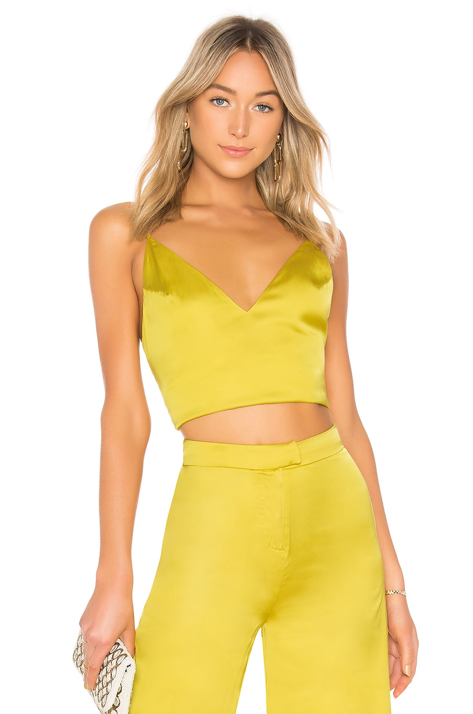 Lovers + Friends Viv Tie Crop Top in Chartreuse Green