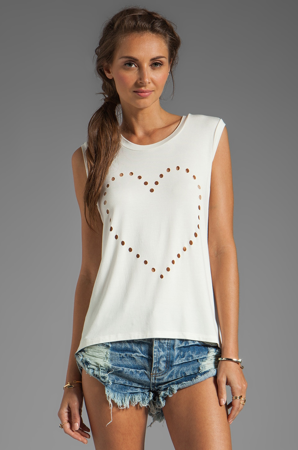 Lovers + Friends Call Me Crop Heart Tank in White