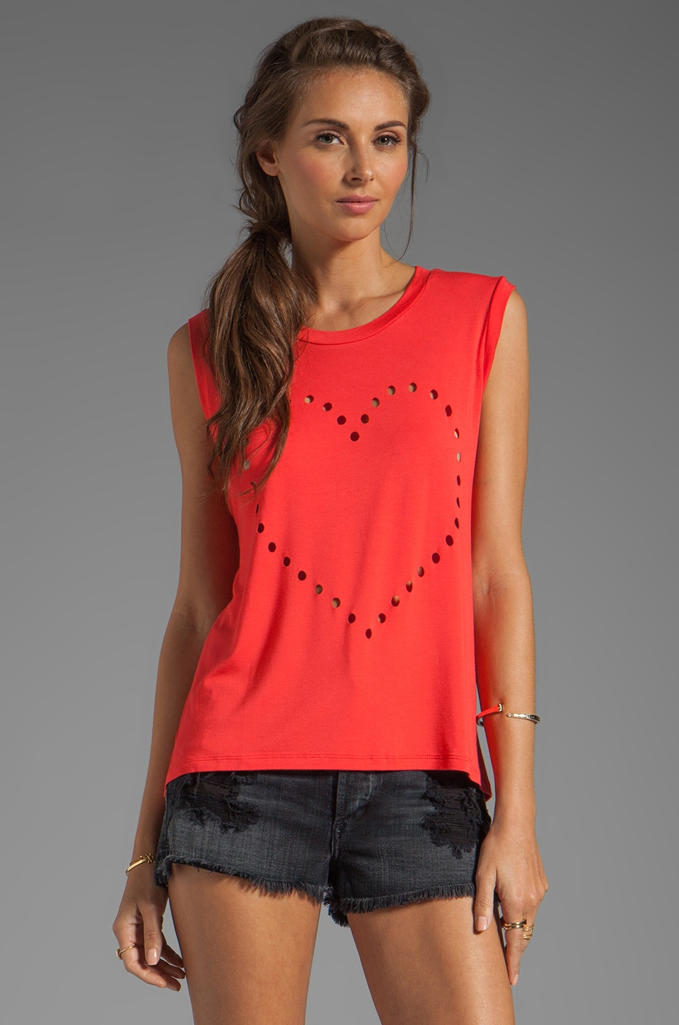Lovers + Friends Call Me Crop Heart Tank in Tigerlily