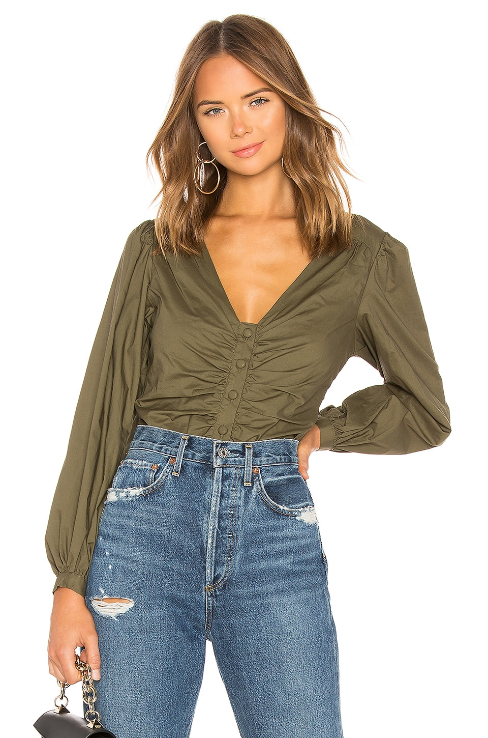 Lovers + Friends Greer Blouse in Olive