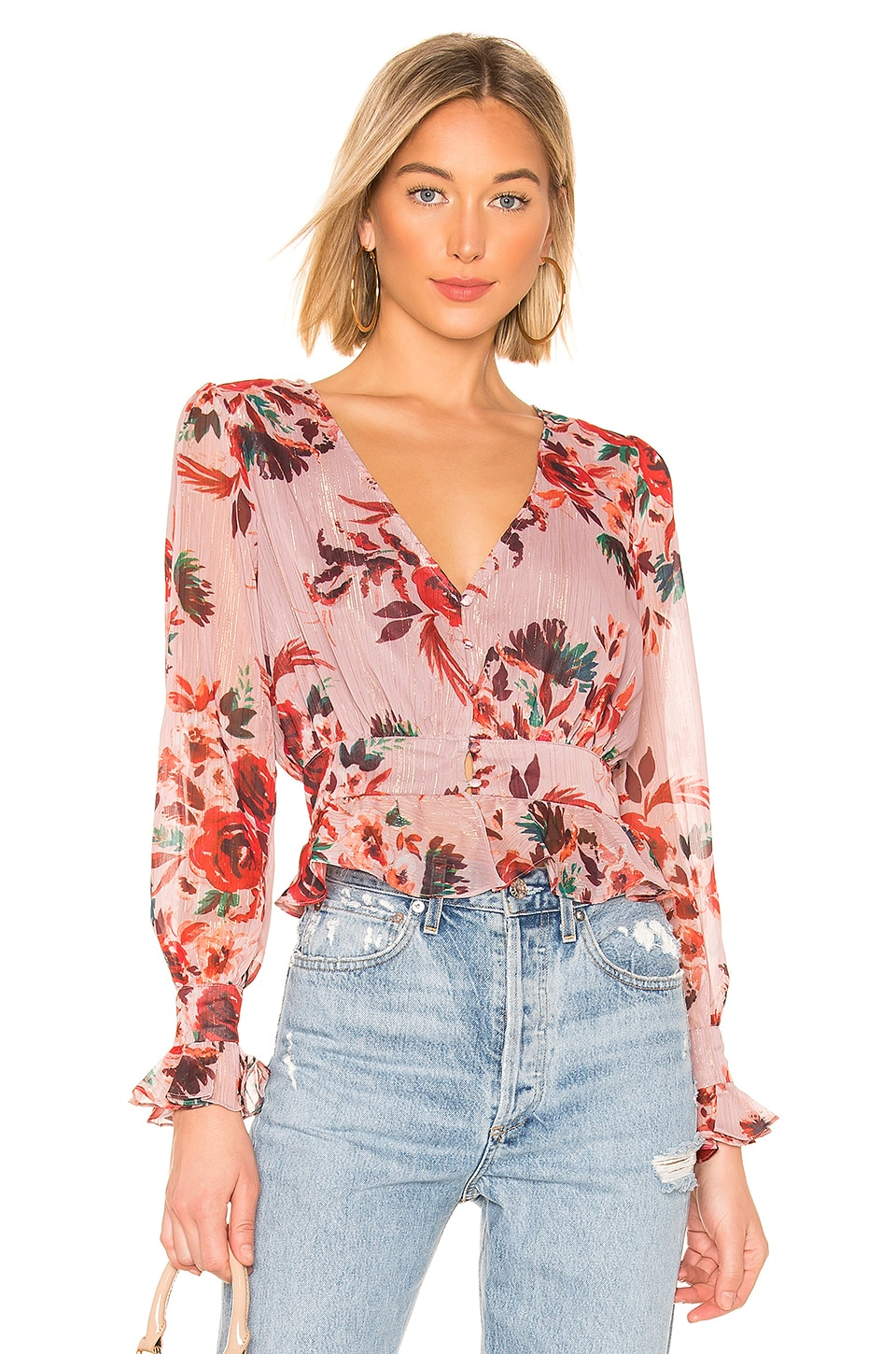 Lovers + Friends Nate Blouse in Holiday Floral