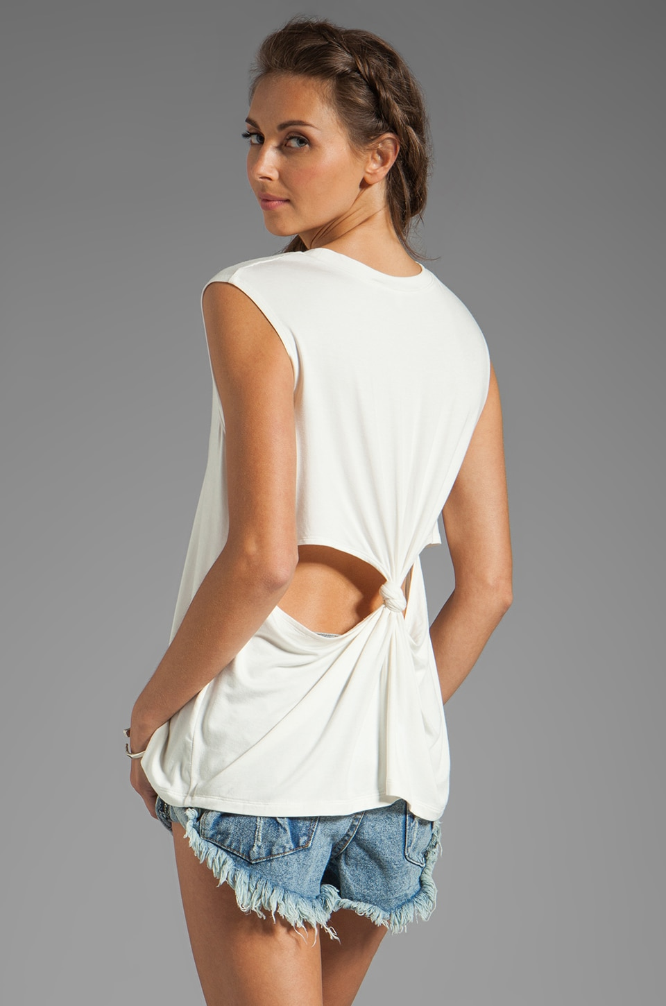 Lovers + Friends She's A Women Tank with Back Cut Outs in White
