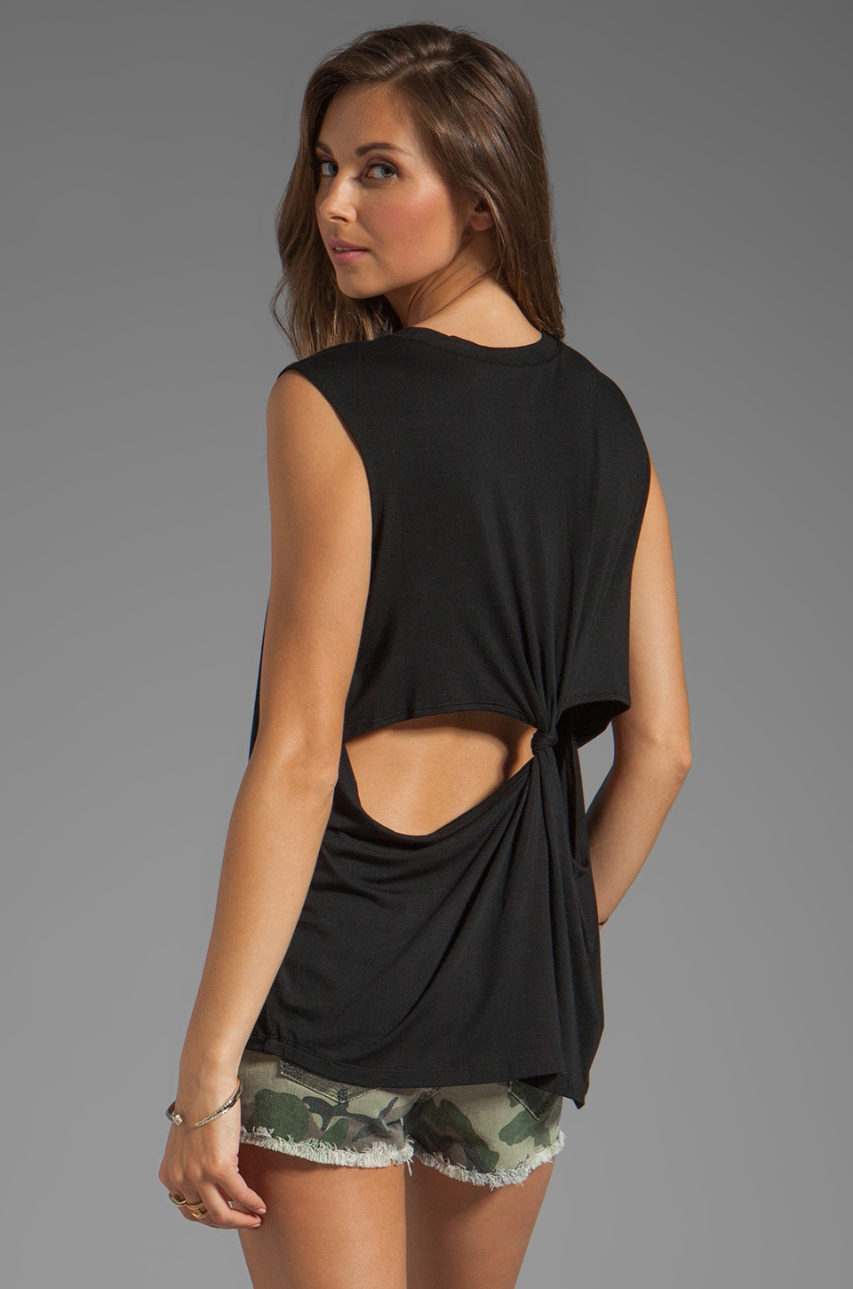 Lovers + Friends She's A Women Tank with Back Cut Outs in Black