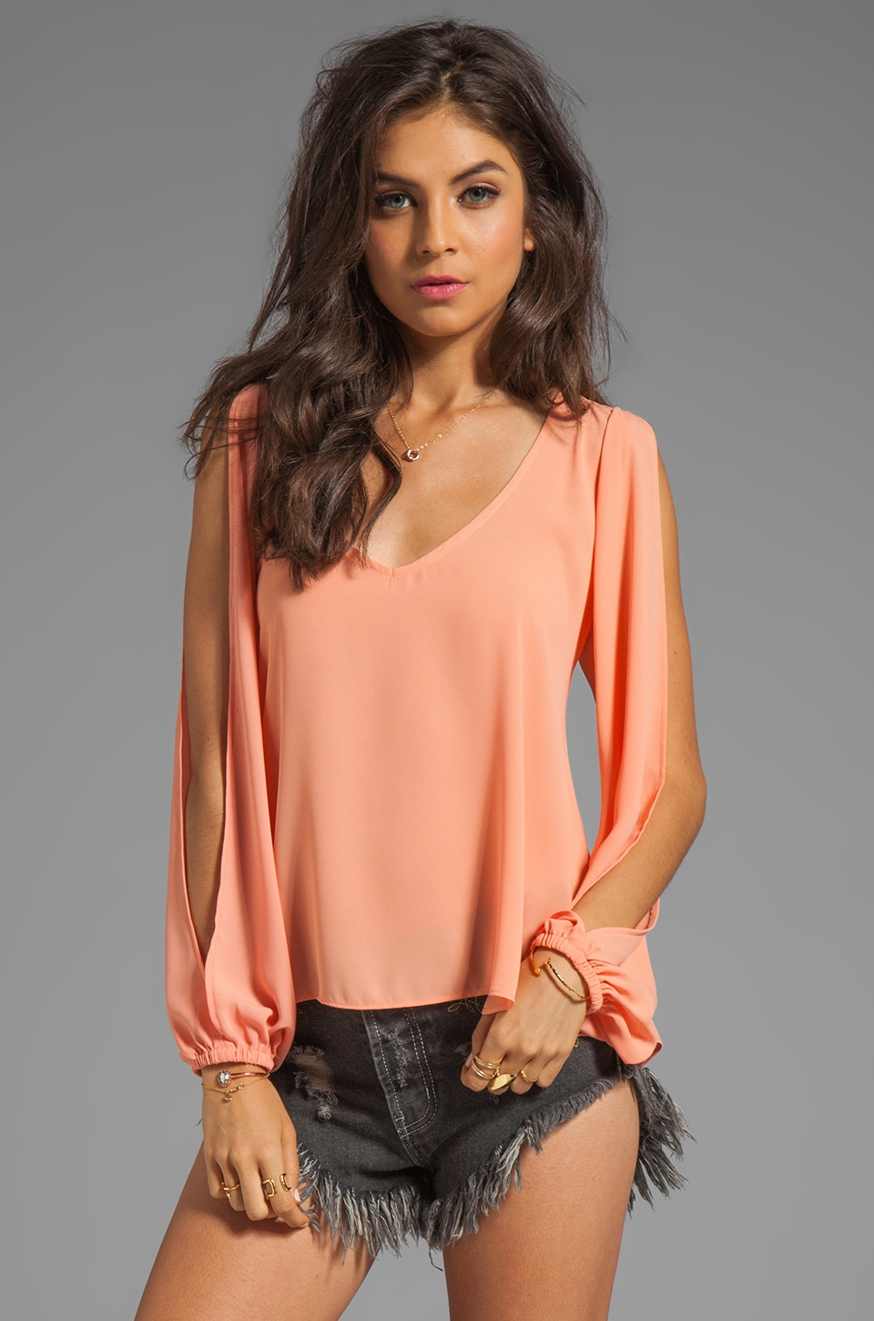 Lovers + Friends Day Dream Open Sleeve Top in Coral