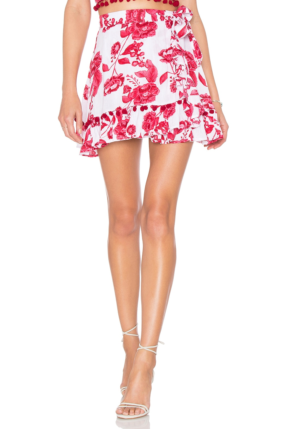 Lovers + Friends Alicia Skirt in Coral Poppy