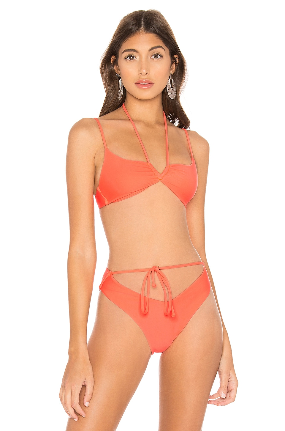 Lovers + Friends Tulip Top in Hot Coral