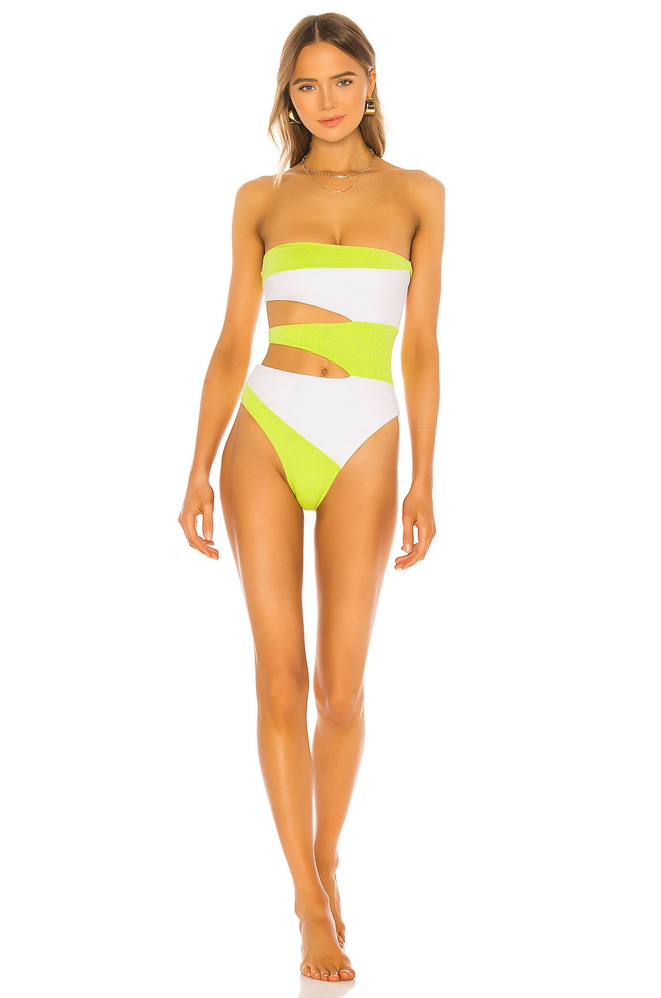 Lovers + Friends Ibiza One Piece in Chartreuse Palm