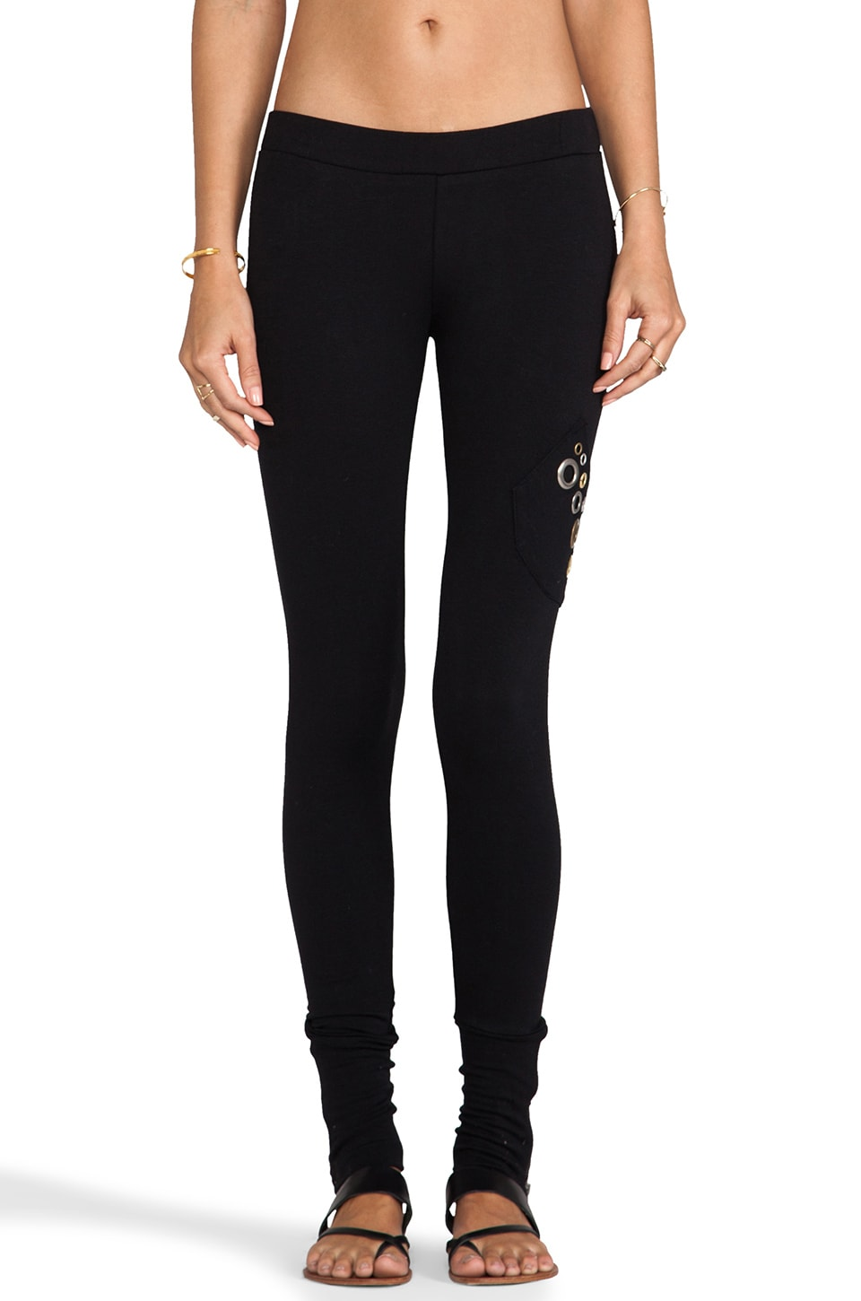 Love Haus by Beach Bunny Grommet Loungewear Zip Cuff Legging in Black