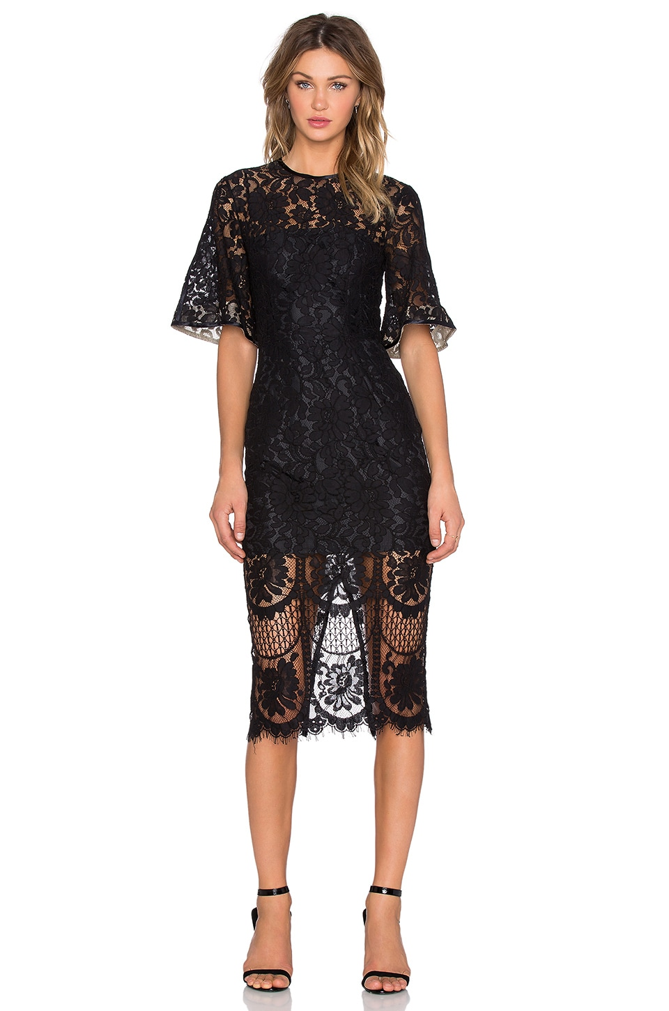 Lover Halo Lace Midi Dress in Black