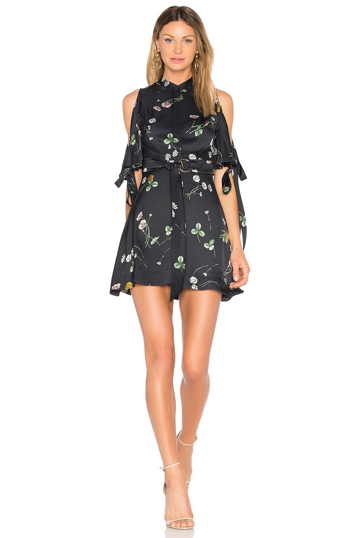 Lover Elderflower Mini Dress in Black Ground