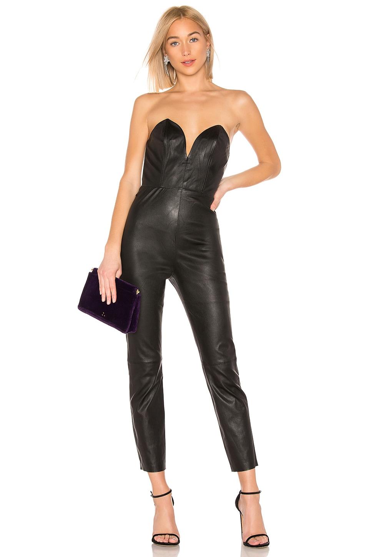 LPA Uma Leather Jumpsuit in Black