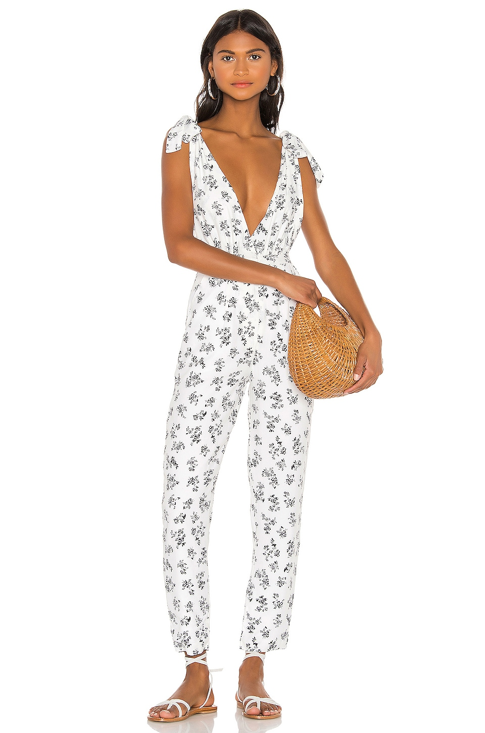 LPA Shoulder Tie Jumpsuit in Sabina Floral