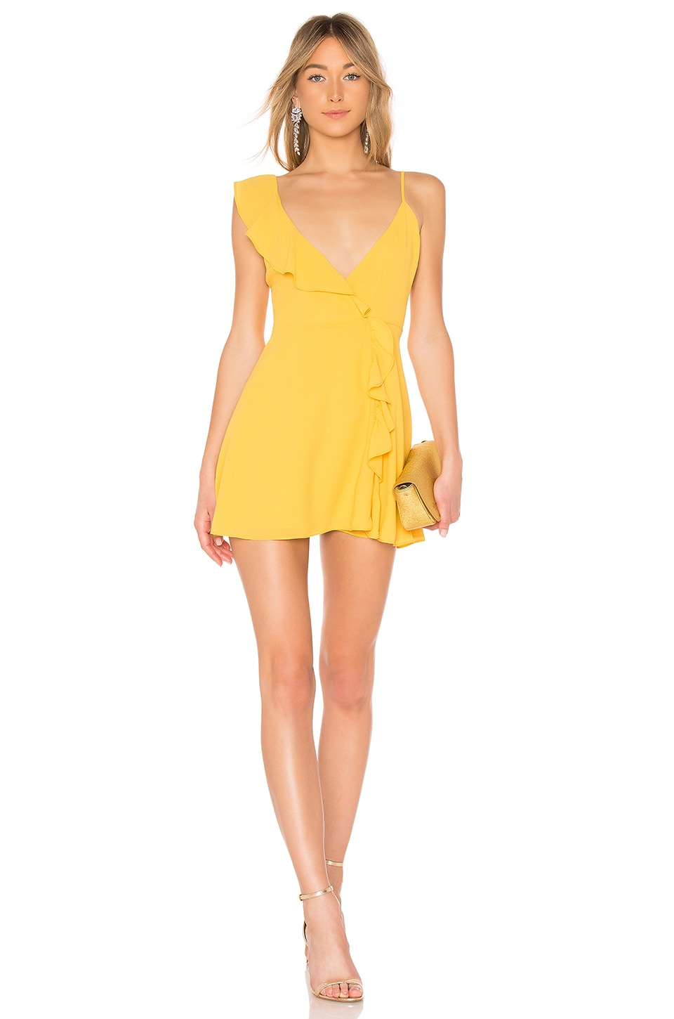 LPA Asymmetrical Ruffle Wrap Dress in Golden Yellow