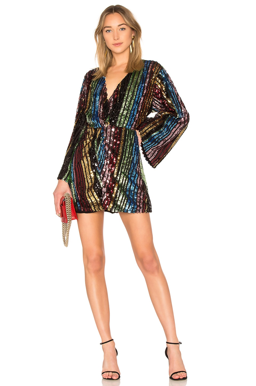 LPA Twist Front Dress With Kimono Sleeve in Multi Sequin