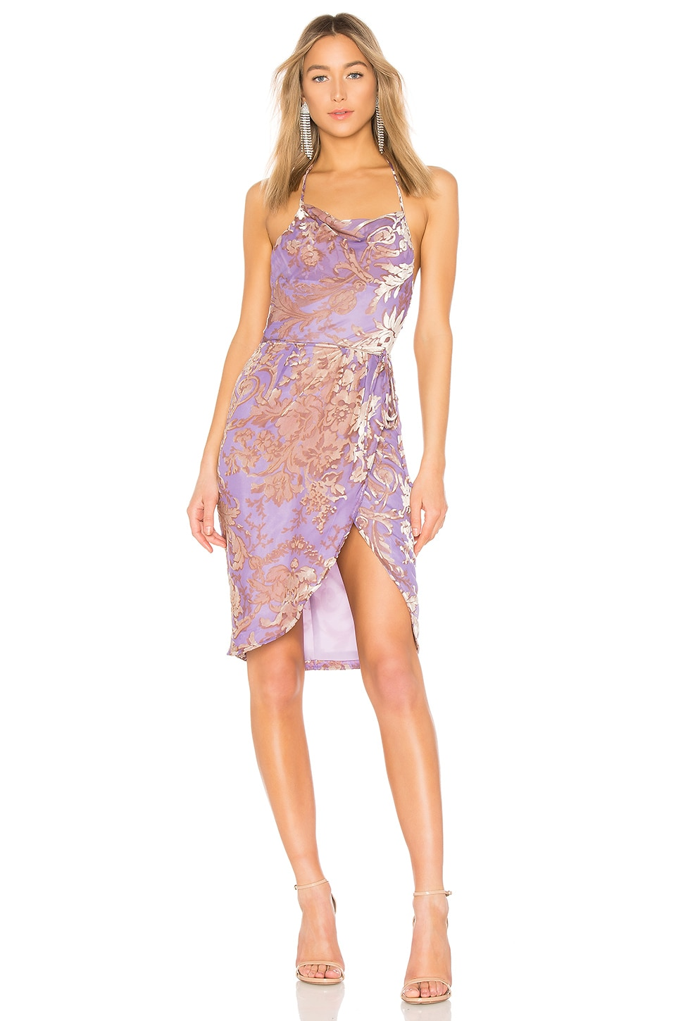 LPA Halter Wrap Dress in Lilac Velvet