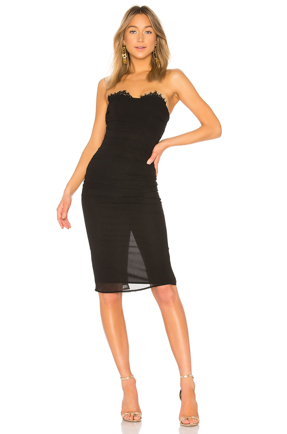 LPA Shirred Bustier Dress in Black