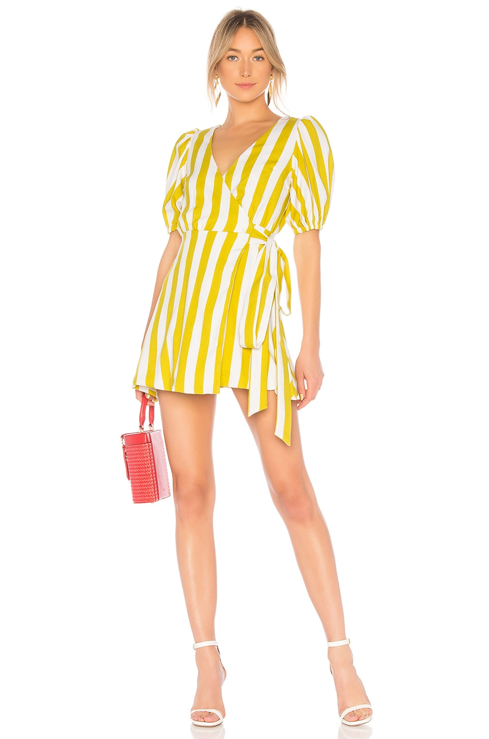 Wrap Dress With Puff Sleeve