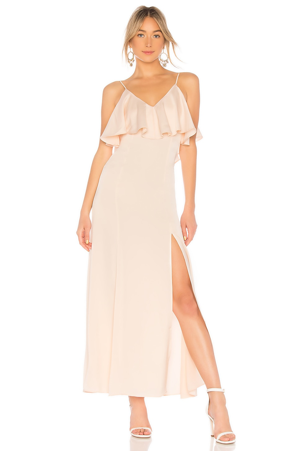 V NECK RUFFLE GOWN