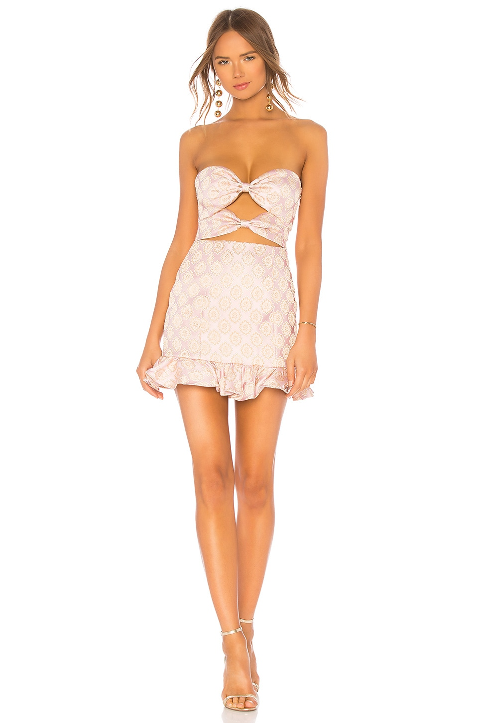 LPA Double Knot Lace Up Dress in Peach On Pink