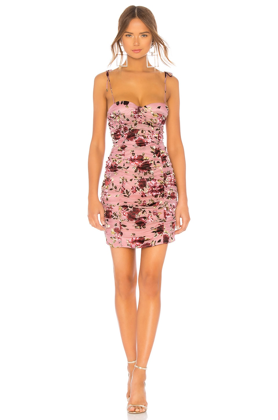 LPA Ruched Dress With Ties in Roses On Rose