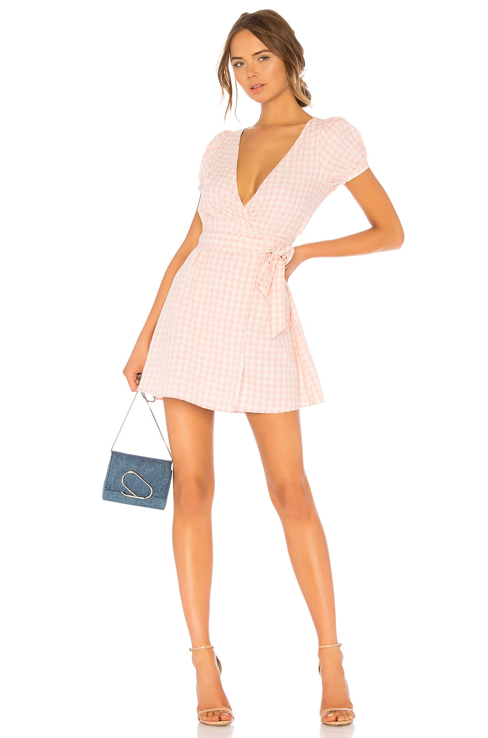 LPA Back Cutout Wrap Dress in Baby Pink