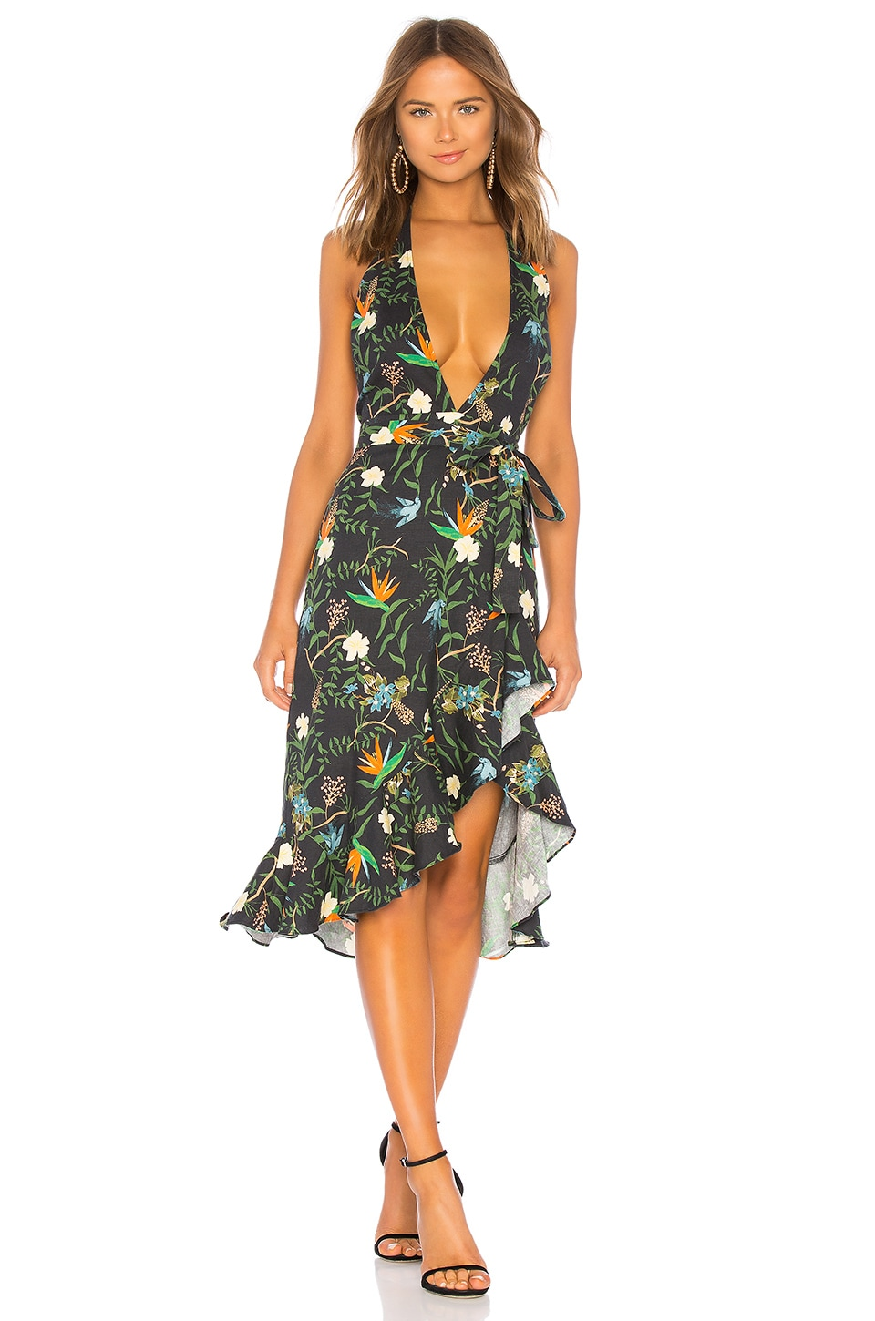 LPA Halter Hi Low Ruffle Dress in Tropical Paradise