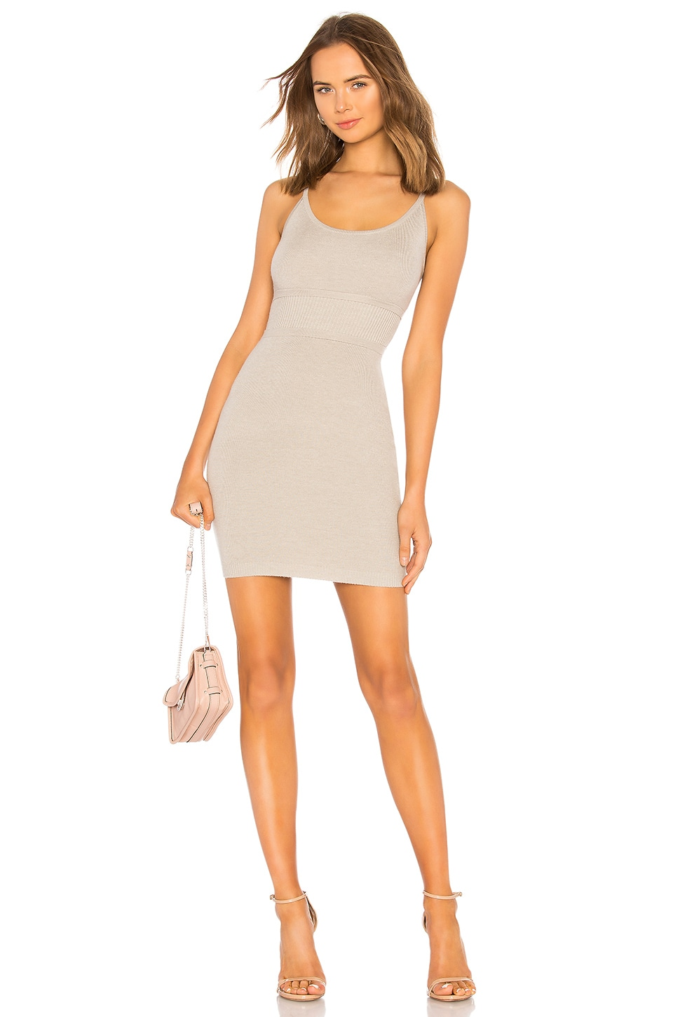 LPA Fitted Knit Dress in Heather Gray