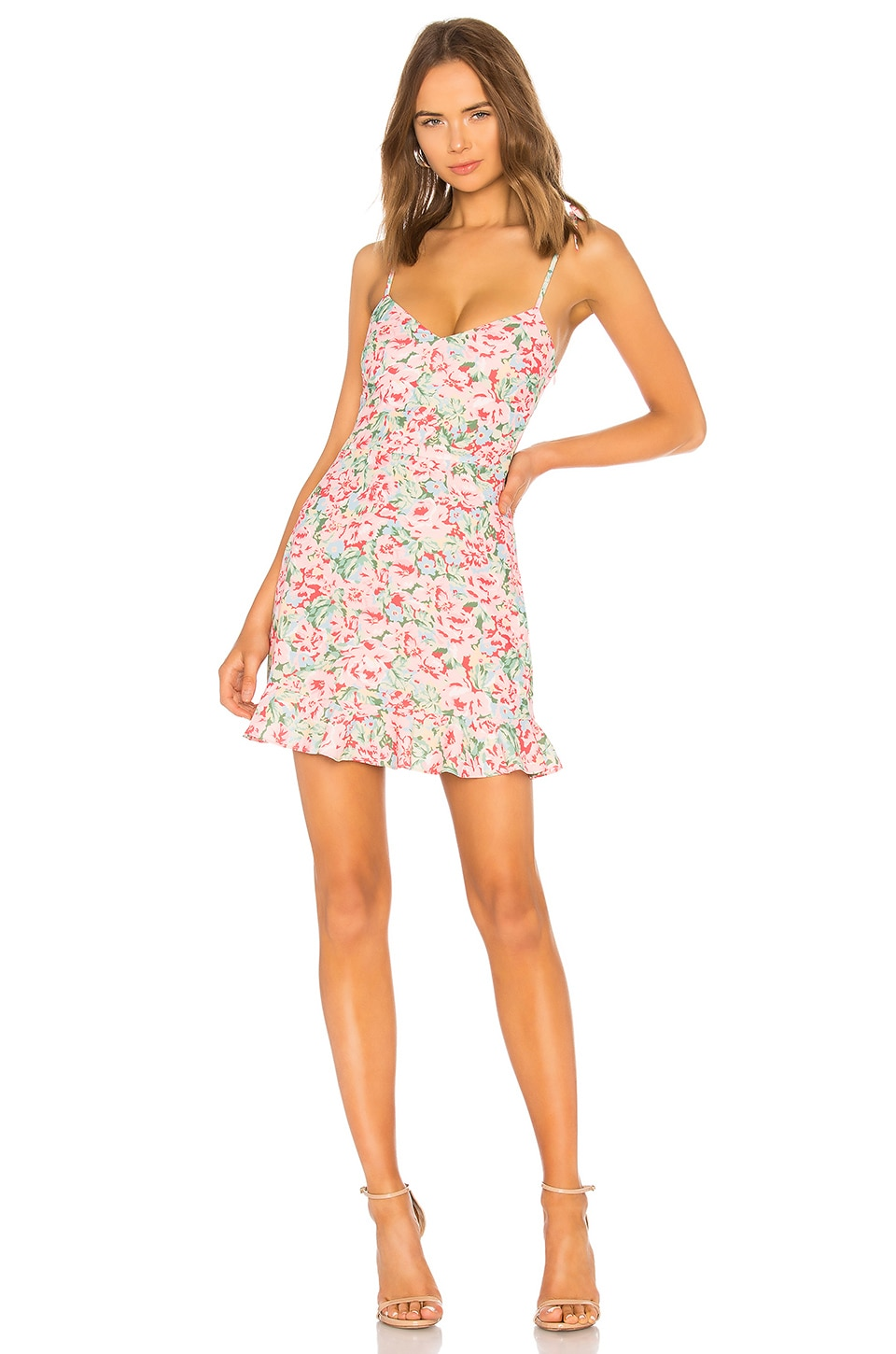 LPA Multi Ruffle Mini Dress in Pink Blooms
