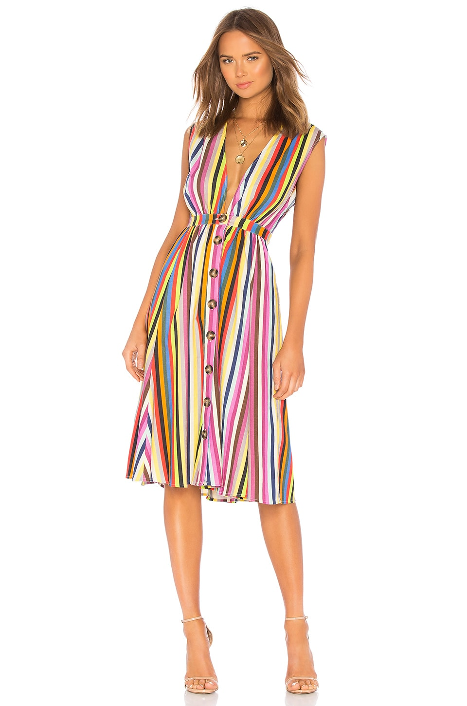 LPA Shirred Button Up Dress in Rainbow Stripe