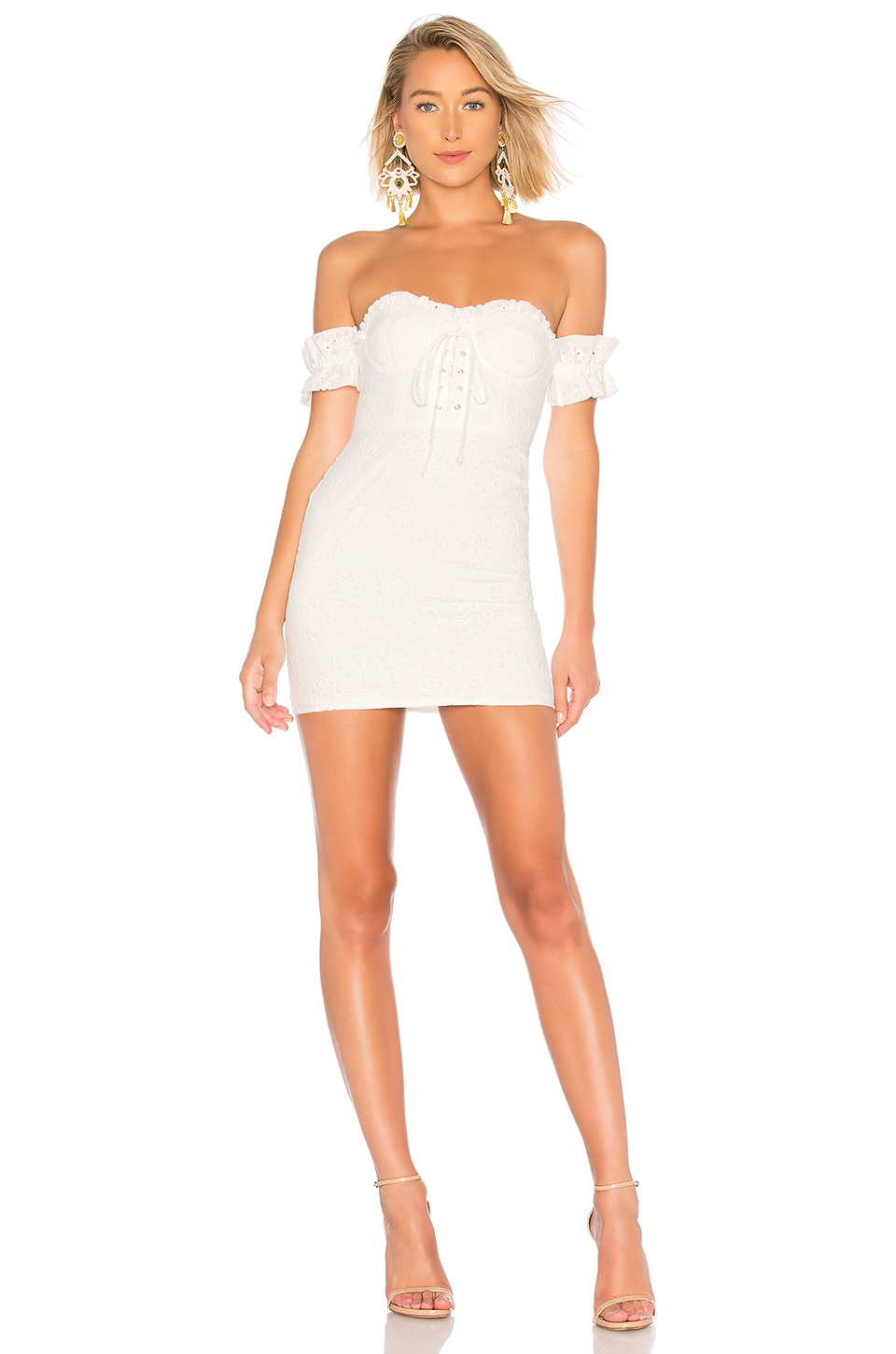 LPA Fitted Lace Up Dress in White