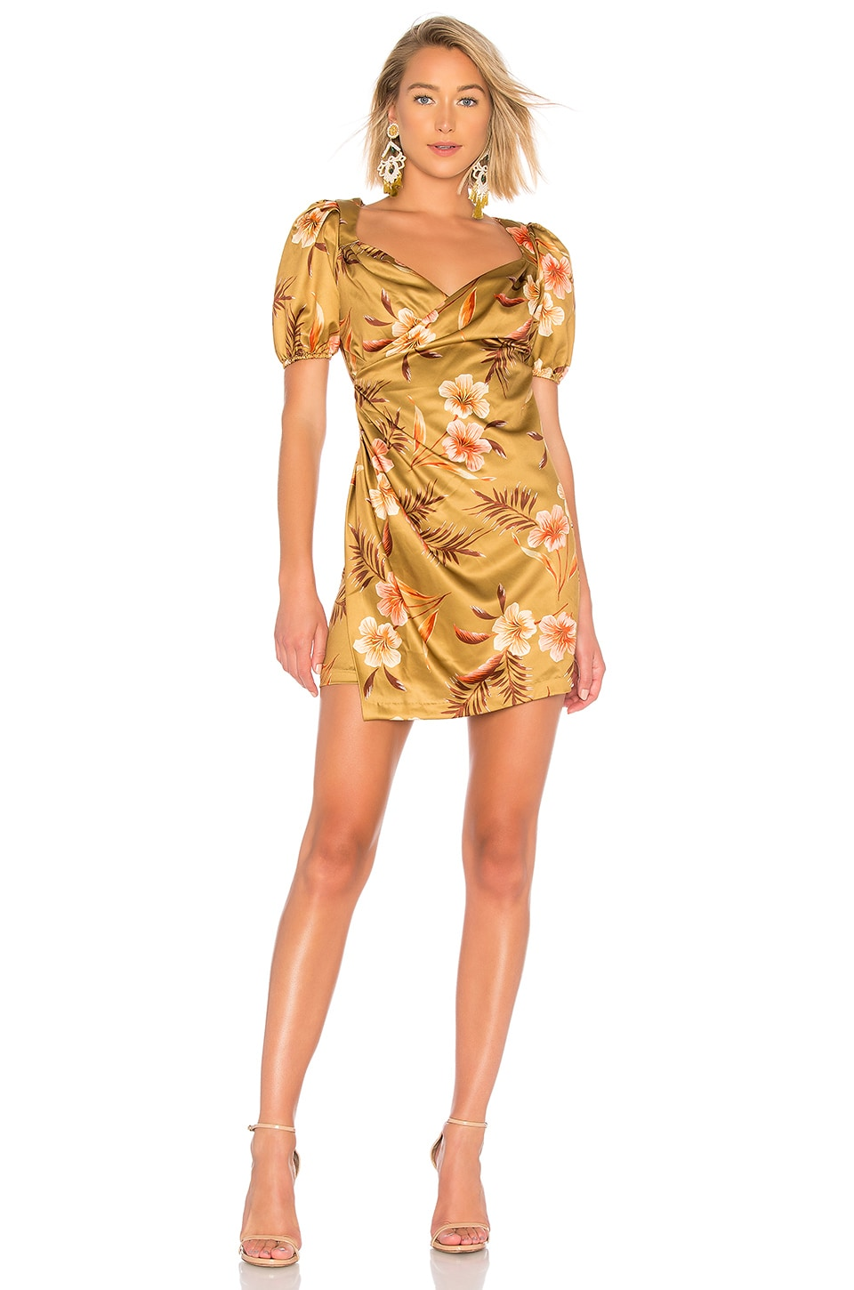 LPA Pinched Wrap Dress in Lush Tropics