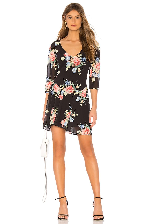 LPA V Neck Dress in Midnight Roses