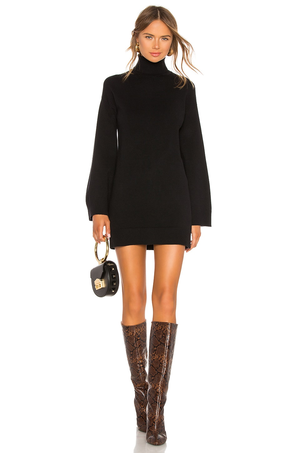 LPA Fallon Sweater Dress in Black
