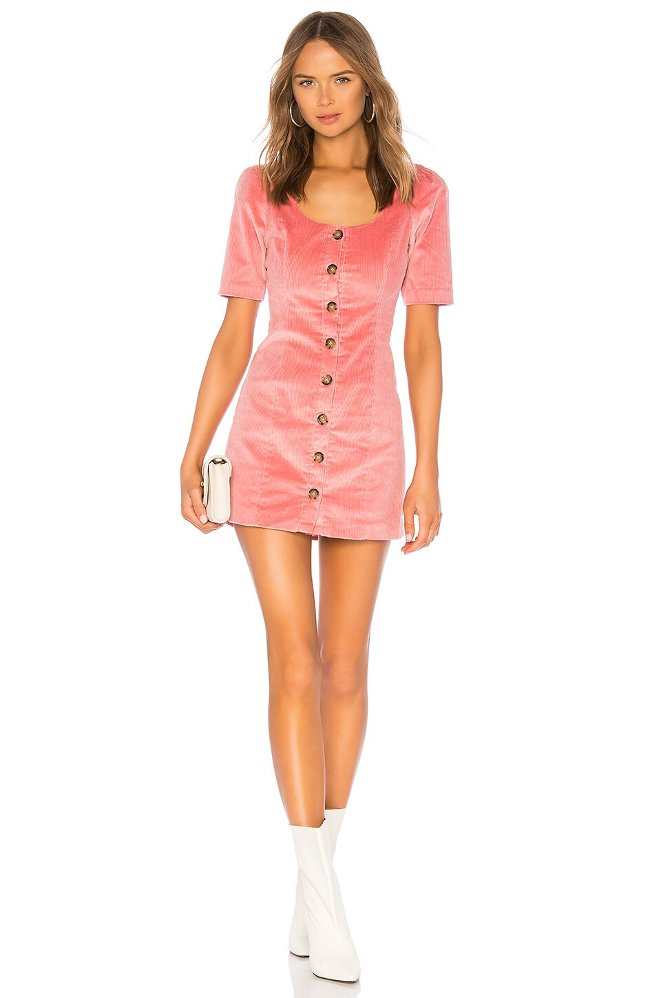 LPA VESTIDO PUFF SLEEVE BUTTON UP DRESS
