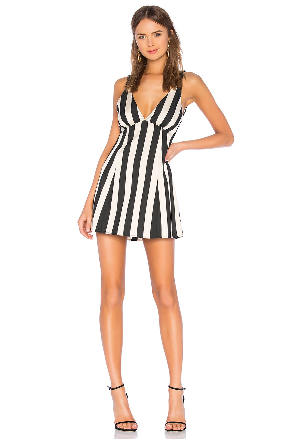 LPA Deep V Dress in Black & White
