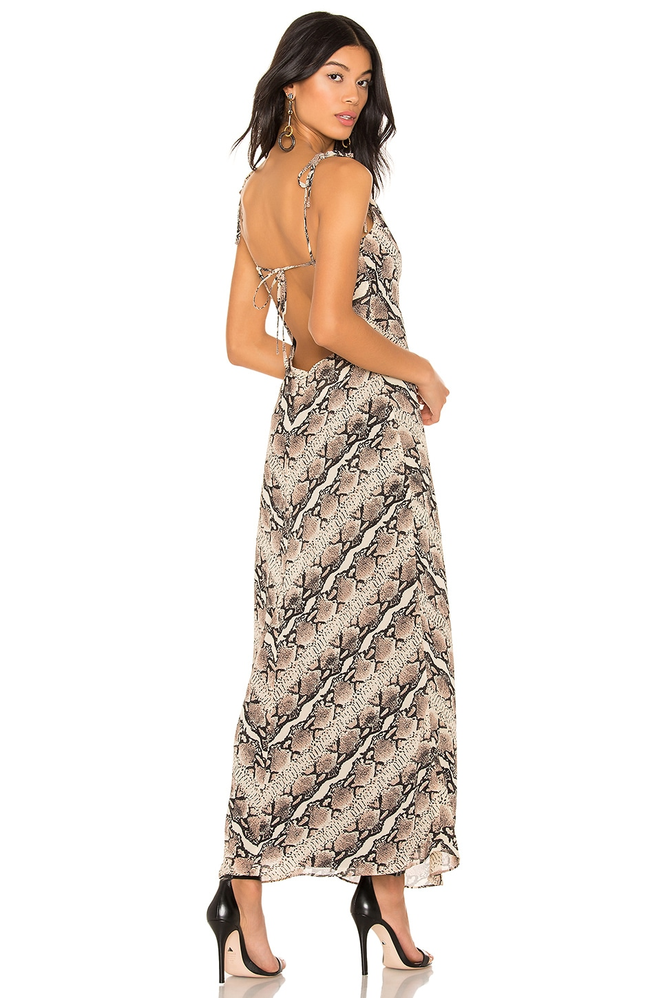 LPA Cowl Dress in Tan Snake