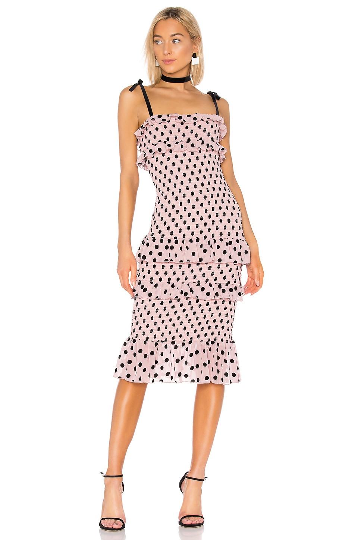 LPA Fiorella Midi Dress in Black & Pink
