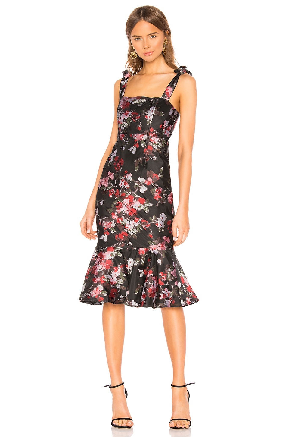 LPA Zelmira Midi Dress in Red Floral