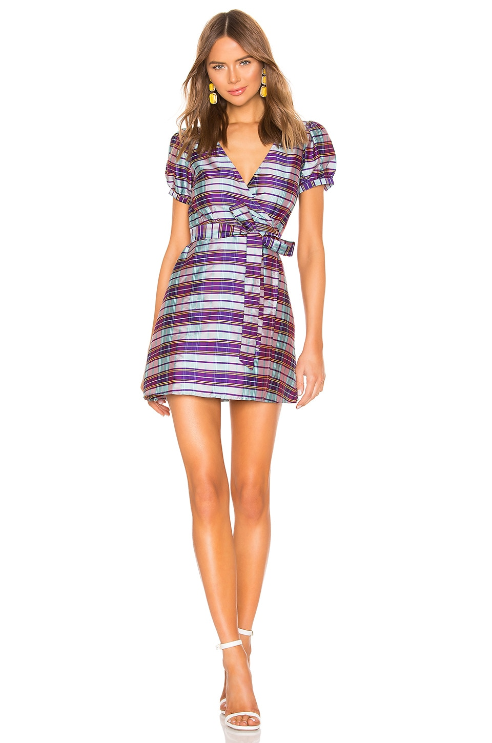 LPA Back Cutout Wrap Dress in Purple Plaid