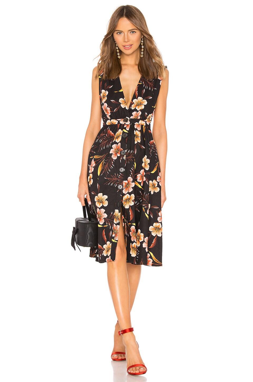 LPA Shirred Button Up Dress in Lush Tropics Black